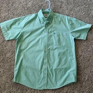 Kelly green/white plaid CINCH s/s western shirt M